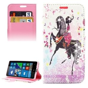 Horse Riding Girl Pattern Diamond Encrusted Horizontal Flip Leather Case with Holder & Card Slots & Wallet for Microsoft Lumia 650