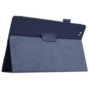 Litchi Texture Horizontal Flip Solid Color Leather Case with Holder for Sony Xperia Z4(Dark Blue)