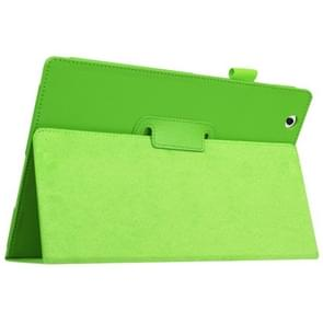Litchi Texture Horizontal Flip Solid Color Leather Case with Holder for Sony Xperia Z4(Green)