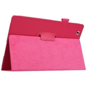 Litchi Texture Horizontal Flip Solid Color Leather Case with Holder for Sony Xperia Z4(Magenta)