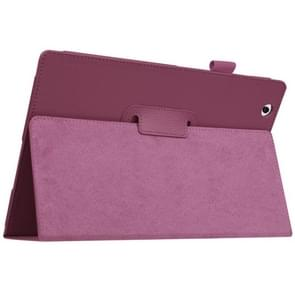 Litchi Texture Horizontal Flip Solid Color Leather Case with Holder for Sony Xperia Z4(Purple)