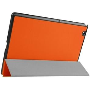 Karst Texture Horizontal Flip Solid Color Leather Case with Three-Folding Holder for Sony Xperia Z4(Orange)