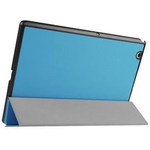 Karst Texture Horizontal Flip Solid Color Leather Case with Three-Folding Holder for Sony Xperia Z4(Blue)