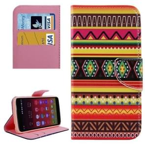 National Style Stripes Pattern Horizontal Flip Leather Case with Holder & Card Slots & Wallet for Alcatel Idol 3 5.5inch