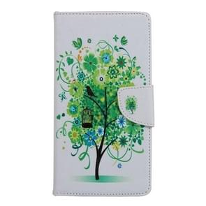 Green Tree in Bloom Pattern Horizontal Flip Leather Case with Holder & Card Slots & Wallet for Alcatel Idol 3 5.5inch