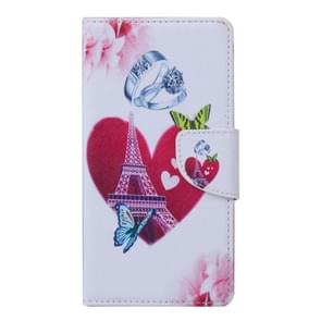 Romantic Heart and Diamond Ring Pattern Horizontal Flip Leather Case with Holder & Card Slots & Wallet for Alcatel Idol 3 5.5inch