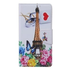 Tower and Flowers Pattern Horizontal Flip Leather Case with Holder & Card Slots & Wallet for Alcatel Idol 3 5.5inch