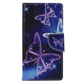 Purple Crystal Butterflies Pattern Horizontal Flip Leather Case with Holder & Card Slots & Wallet for Alcatel Idol 3 4.7inch