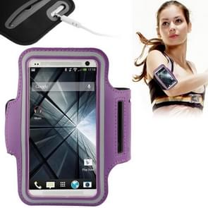 PU Sport Armband Case with Earphone Hole & Key Pocket for Samsung Galaxy S5 / G900 / HTC One / M7 (Purple)