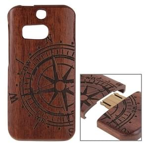 For HTC One M8 Compass Pattern Separable Sapele Wooden Case