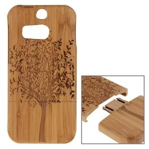 For HTC One M8 Tree Pattern Separable Bamboo Wooden Case