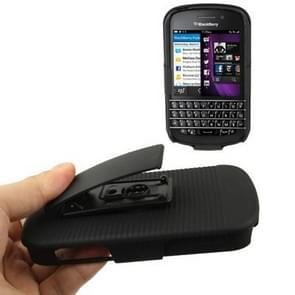 Pure Color Plastic Case with Belt Clip Stand for Blackberry Q10 (Black)