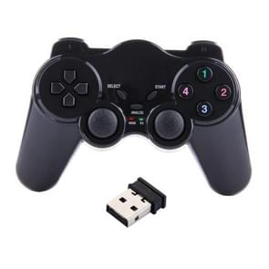2.4GHz RF Wireless Game Pad with Dual Shock Vibration & USB 2.0 Receiver, Operation Distance: 10m(Black)