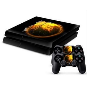 3D Fireball Pattern Protective Skin Sticker Cover Skin Sticker for PS4 Game Console