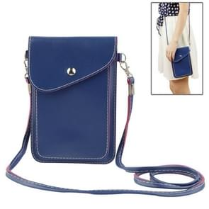 Universal Lichee Pattern Leather Bag with Strap for iPhone 6 & 6SS Plus, Samsung Galaxy S6 edge Plus / A8 / Note 5 / Note 4 / Note III / N9000 (Dark blue)(Blue)