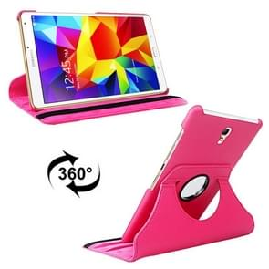 Litchi Texture 360 Degree Rotation Leather Case with 2 Gears Holder & Sleep / Wake-up Function for Samsung Galaxy Tab S 8.4 / T700 / T705(Magenta)