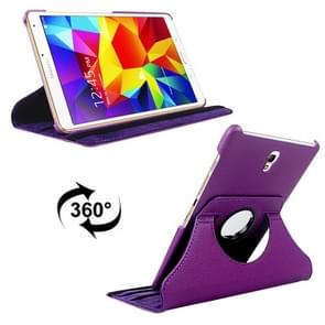Litchi Texture 360 Degree Rotation Leather Case with 2 Gears Holder & Sleep / Wake-up Function for Samsung Galaxy Tab S 8.4 / T700 / T705(Purple)