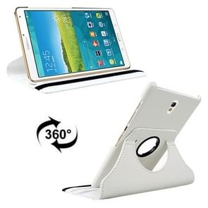 Litchi Texture 360 Degree Rotation Leather Case with 2 Gears Holder & Sleep / Wake-up Function for Samsung Galaxy Tab S 8.4 / T700 / T705(White)