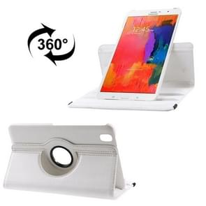 360 Degree Rotatable Litchi Texture Leather Case with 2-angle Viewing Holder for Samsung Galaxy Tab Pro 8.4 / T320(White)