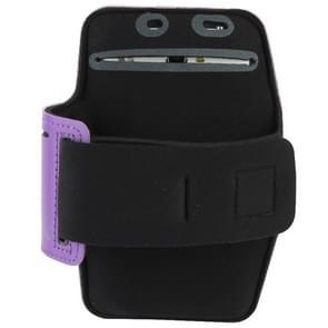 Universal PU Sports Armband Case with Earphone Hole for Samsung Galaxy Note 4 / N910 / Note III / N9000 / II / N7100 / i9220 / N7000 /  N7005 / Sony Z2 / Z1(Purple)