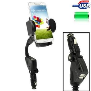 Dual USB 5V 1A / 2A Car Charger Holder for Samsung Galaxy S IV / i9500 / Galaxy S III / i9300 / N7100 / iPhone / Z10 / HTC / Nokia / Other Mobile Phone, Width: 45-87mm (Black)