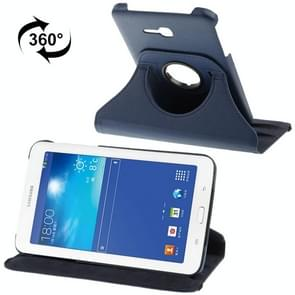360 Degree Rotatable Litchi Texture Leather Case with 2-angle Viewing Holder for Samsung Galaxy Tab 3 Lite T110 / T111 (Dark Blue)(Blue)