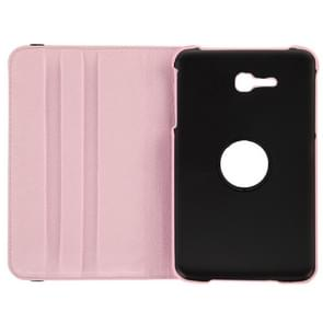 360 Degree Rotatable Litchi Texture Leather Case with 2-angle Viewing Holder for Samsung Galaxy Tab 3 Lite T110 / T111(Pink)