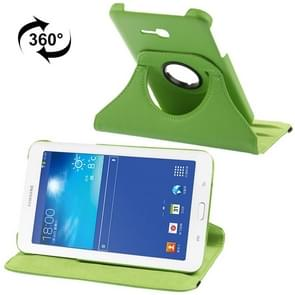 360 Degree Rotatable Litchi Texture Leather Case with 2-angle Viewing Holder for Samsung Galaxy Tab 3 Lite T110 / T111 (Green)