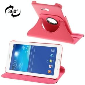 360 Degree Rotatable Litchi Texture Leather Case with 2-angle Viewing Holder for Samsung Galaxy Tab 3 Lite T110 / T111(Magenta)