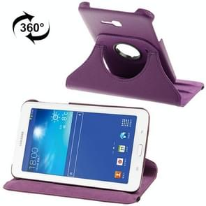 360 Degree Rotatable Litchi Texture Leather Case with 2-angle Viewing Holder for Samsung Galaxy Tab 3 Lite T110 / T111(Purple)