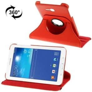 360 Degree Rotatable Litchi Texture Leather Case with 2-angle Viewing Holder for Samsung Galaxy Tab 3 Lite T110 / T111(Red)