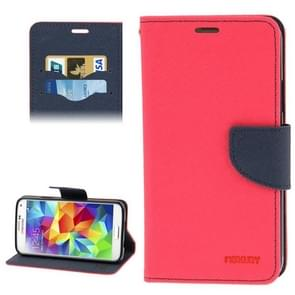 Cross Texture Leather Case with Credit Card Slots & Holder for Samsung Galaxy S5 / G900(Magenta)