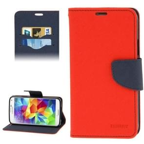 Cross Texture Leather Case with Credit Card Slots & Holder for Samsung Galaxy S5 / G900(Red)