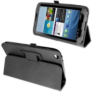Litchi Texture Leather Case with Holder for Samsung Galaxy Tab 3 (8.0) / T3110 / T3100, Black(Black)