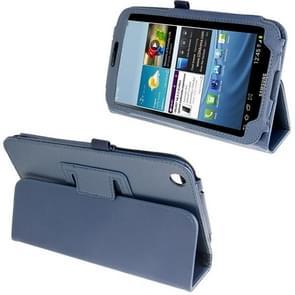 Litchi Texture Leather Case with Holder for Samsung Galaxy Tab 3 (8.0) / T3110 / T3100, Dark Blue(Dark Blue)