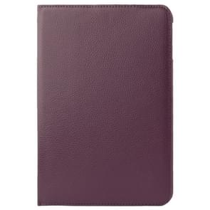 360 Degree Rotatable Litchi Texture Leather Case with 2-angle Viewing Holder for Samsung Galaxy Tab 4 10.1 / SM-T530 / T531(Purple)