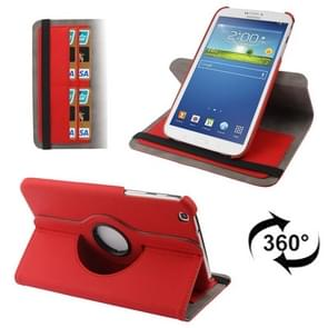 360 Degree Rotation Denim Texture Leather Case with Credit Card Slot for Samsung Galaxy Tab 3 (8.0) / T3100 / T3110(Red)