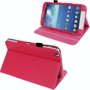 Litchi Texture Leather Case with 3-angle Adjustment Viewing Holder for Samsung Galaxy Tab 3 (8.0) / T3110 / T3100, Magenta(Magenta)
