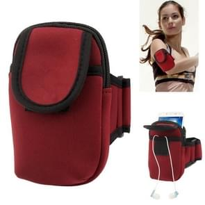 Thicken Nylon Fabric Double Layers Sports Armband Case for Samsung Galaxy S IV / i9500 / i9300 / i9190   (Scarlet Red)