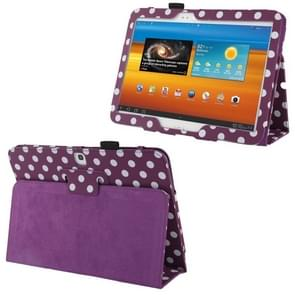 Purple and White Dot Pattern Leather Case with Holder for Samsung Galaxy Tab 3 (10.1) / GT-P5200(Purple)