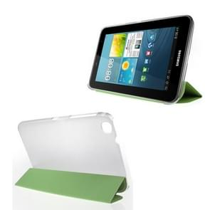3-folding Toothpick Texture Flip PU Leather Cover Plastic Case for Samsung Galaxy Tab 3 (8.0) / T3100 / T3110(Green)
