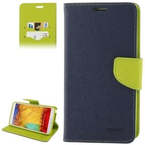 Cross Texture Leather Case with Credit Card Slots & Holder for Samsung Galaxy Note III / N9000(Dark Blue)