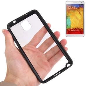 Transparent Plastic + TPU Frame Case for Samsung Galaxy Note III / N9000 (Black)