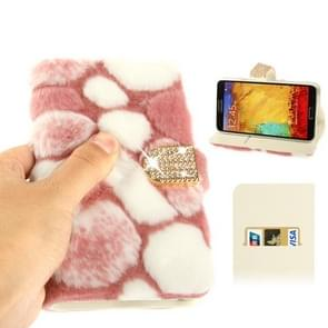 Spots Texture Diamond Encrusted Winter Warm Fur Leather Case with Credit Card Slot & Holder for Samsung Galaxy Note III / N9000