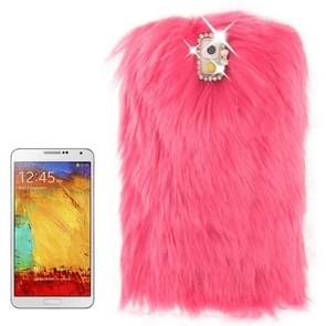 Diamond Encrusted Winter Warm Fur Plastic Case for Samsung Galaxy Note III / N9000 (Magenta)