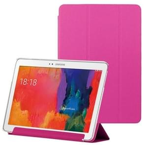 3-folding Toothpick Texture Leather Case with Holder for Samsung Galaxy Tab Pro 10.1 / T520(Magenta)