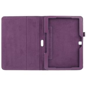 Litchi Texture Flip Leather Case with Holder for Samsung Galaxy Tab 4 10.1 / T530(Purple)