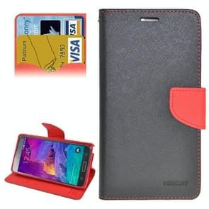 Cross Texture Horizontal Flip Leather Case Cover with Credit Card Slots for Samsung Galaxy Note 4 (Black + Red)
