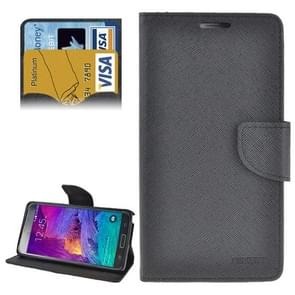 Cross Texture Horizontal Flip Leather Case Cover with Credit Card Slots for Samsung Galaxy Note 4(Black)