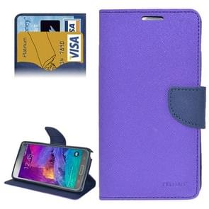 Cross Texture Horizontal Flip Leather Case Cover with Credit Card Slots for Samsung Galaxy Note 4(Purple)